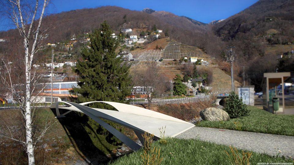 render e inserimento nella fotografia della passerella progettata dall'Ing. Masotti di Bellinzona