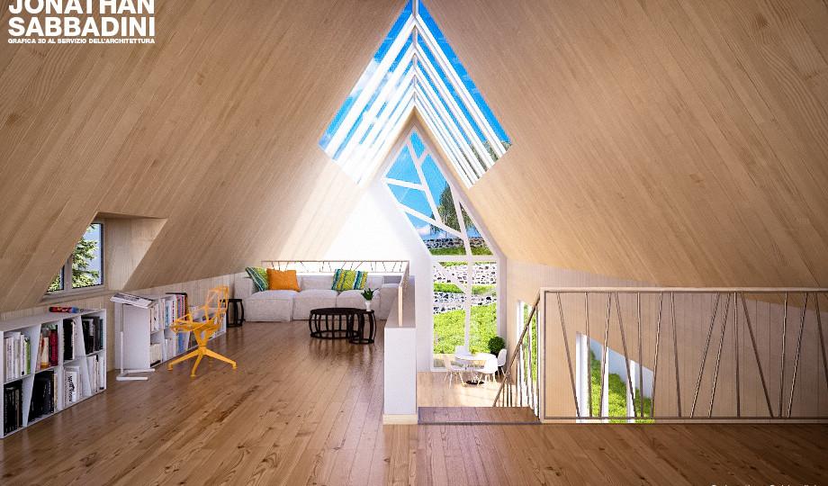 3d render interno di legno e vetro