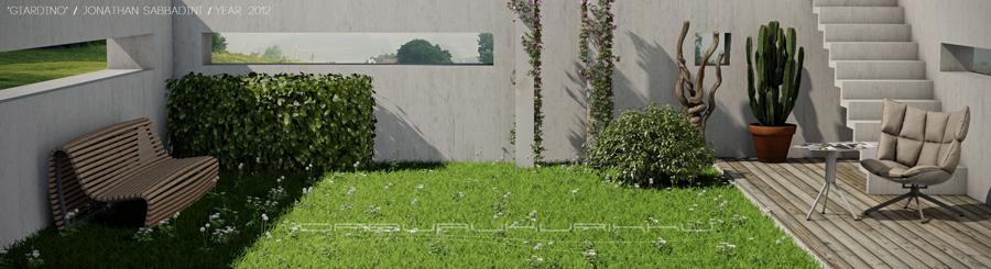 giardino in 3d render di arredamento e vegetazione