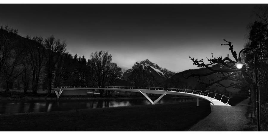 Render 3D e fotocomposizione per lo studio di ingegneria Giorgio Masotti di Bellinzona: passerella sul fiume Linth
