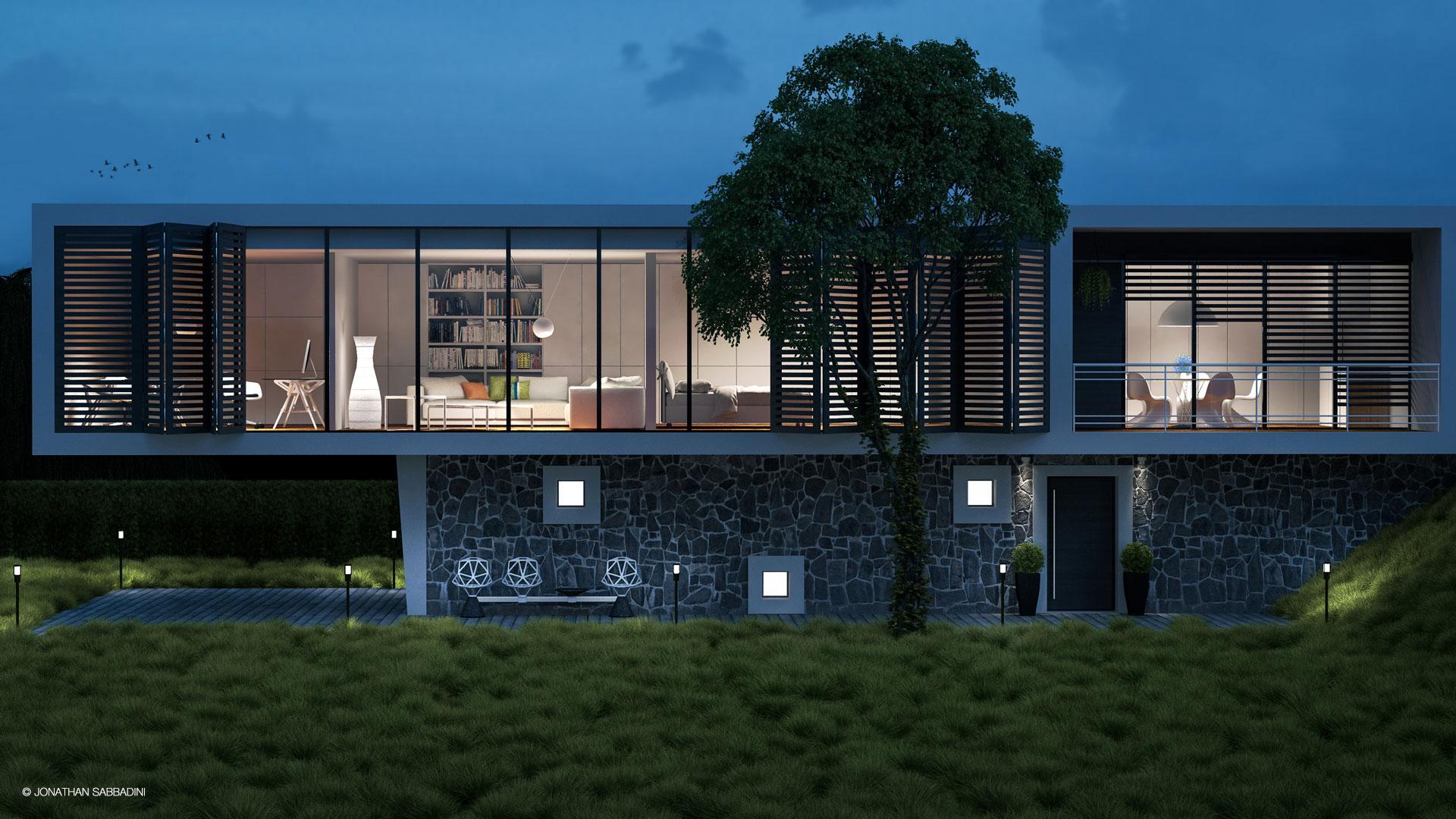 Render architettonico fotorealistico di una villa moderna
